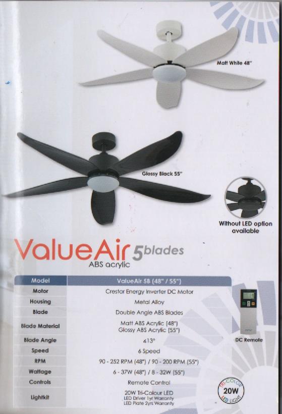 Crestar Value Air 55 5blades Ceiling Fan Designlight Com Sg